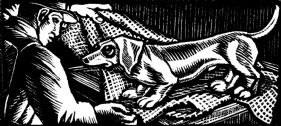 wood-engraving original print: First Dog for Four Tales from Hans Andersen